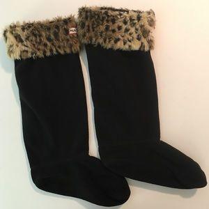 Hunter leopard booties socks size M/L (8-10)